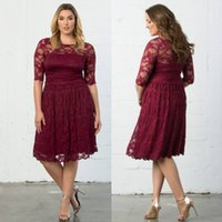 Wholesale Yellow Sun Dresses - Sunning Burgundy Plus Size Evening Dresses Sheer Jewel Neck Lace Mother Of The Bride Dress With Half Sleeves A-Line Knee Length Formal Gowns