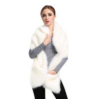 weiße pelzschals großhandel-Top Qualität! Neue Mode Heißer Verkauf Winter Damen Faux Fuchspelz Weißen Schal Schal frauen Warme Wrap Stola Schals DM # 6