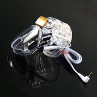 Wholesale Adult Electric Sex Toys Male - Adult Electric Male Chastity Penis Cage Electro Shock Cockring Penis Ring Extender Sex Toys For Men