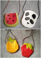 Wholesale Banana Leather - Wholesale- 1 pcs Kids messenger bag 2015 child cute panda watermelon Strawberry pineapple banana PU Purse Fruits shoulder bag Free shipping