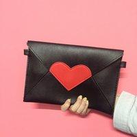 Wholesale Heart Shape Clutch Bag - Wholesale-Fashion Messenger bags love letter Cartoon Printing Envelope bags heart shape day clutch pu shoulder bags 2 colors available