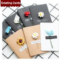 Wholesale Thanks Card Birthday - Hand-Made Christmas Festival Greeting Cards Dried Flower Decoration DIY Vintage Kraft Paper Thank You Cards Anniversary Birthday Card Simula