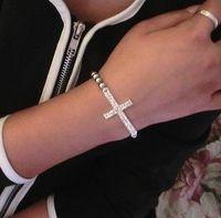 cruces doradas al por mayor-Cruz del amor de la joyería clásica Infinity pulseras del encanto de las mujeres oro de la manera del amor del Rhinestone del brazalete del brazalete pulsera Jewellry Elasticidad 6 Estilos