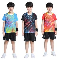 Wholesale Tennis Suits Girls - New Jersey tennis suit Boys   girls (shirts + shorts) summer wear casual wear sports shirts breathable, fast dry sports clothes