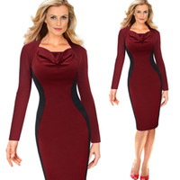 Wholesale Long Sleeve Colorblock Dress - Women Summer Elegant Patchwork Long Sleeve Bodycon Slim Ball Gown Dress S-XXL Red Black Colorblock Pencil Evening Dress DK3041CL
