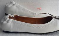 Wholesale Hard Metal Band - Famous Brand Designer Gold Enamel Metal Buckle Sheepskin Genuine Leather Ballet Flats Slip On Casual Loafers Lady Women Shoes Sz 35-41