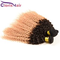 Wholesale Cheap Blonde Curly Weave - Exquisite Ombre Blonde Brazilian Virgin Curly Hair Extensions Cheap Two Tone 1B 27 Kinky Curly Afro Human Hair Weaves 3 Bundles