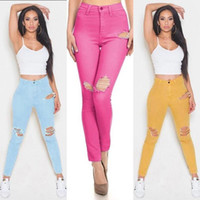 Wholesale Women Bound Jeans - 2016 New Elastic Force Bound Feet Woman Will Code Holes Sexy Self-cultivation Pencil Pants Women's Jeans