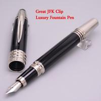 Wholesale Stainless Steel Pen Clips - Luxury Stationery Monte JOHN F. KENNEDY 18K Fountain Pen Black Resin Silver JFK Clip Pen Office Supplies Gift