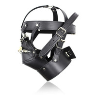 Wholesale Adult Latex Hood - Adult Games Zipper Mouth Latex Faux Leather Sex Mask Sexy Fetish Bondage Mask Hood With Lock Sex Toys For Couples Erotic Toys