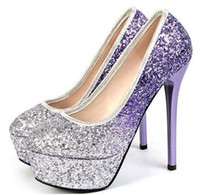 Wholesale Glitter Fabric Wedding Dresses - New Shoes Women Pumps Sexy Platform High Heels Ankle Strap Extreme High Heels Bridal Shoes White Wedding Shoes Purple 34-39