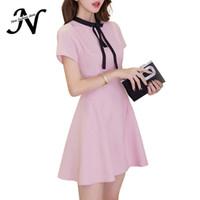 ff1bff6f01 Korean Fashion Casual Dress Summer Women 2017 Short Sleeve Pink Dress With  Bow Tie Slim Elegant A Line Everyday Dresses Women s