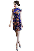 ingrosso abito blu orientale-Shanghai Story Short Qipao Blue Dress cinese 3D Flower Print vestito in stile cinese Vestito orientale cinese Cheongsam vintage