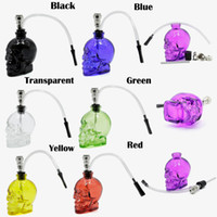 Best Skull Head Glass Bong 7 couleurs Tubes à eau en poudre de verre Durable Mini Shisha Tabac Smoking Smoking Water Pipe Unique Design
