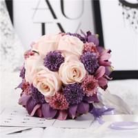 ingrosso bellissimi fiori rosa viola-1 pz fatto a mano di alta qualità bella viola colore rosa da sposa damigella d'onore fiore bouquet da sposa fiore artificiale rose mazzi da sposa