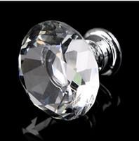 Wholesale Hardware Kitchen Handle Door - 10pcs 30mm Diamond Shape Crystal Glass Furniture Handles Hardware Drawer Wardrobe Kitchen Cabinets Cupboard Door Pull Knobs