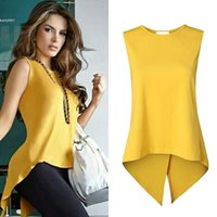 Wholesale Tank Tops For Women Long - 2017 Fashion tank tops for women clothing Back Cross Swallowtail Hem Asymmetrical Pullover Solid Black Yellow