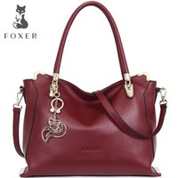 Wholesale Special Tote Brands - Wholesale- FOXER Brand Women Soft cow Leather Shoulder Bags special solid Women's handbag Female Fashion tote