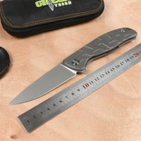 ingrosso coltello f95-Coltello pieghevole F95 Flipper verde Coltello pieghevole D2 TC4 Titanio Manico piatto da campeggio caccia da esterno tasca coltello da frutta Utensili EDC