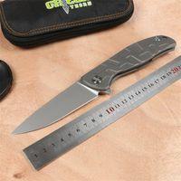 bıçak ağzı toptan satış-Yeşil diken F95 Flipper katlama bıçak D2 blade TC4 Titanyum Düz kolu açık kamp avcılık cep meyve bıçağı EDC araçları