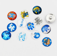 Wholesale Wholesale Wildcat Kentucky - Newest NCAA Ginger Snap Jewelry Kentucky Wildcats Snap Button 18mm Glass Collegiate Sport Team Snap Charms 10 Styles