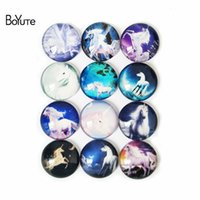 Wholesale glass tale - BoYuTe 10 Sizes Mix Round Unicorn Cabochon Diy Handmade Image Fairy Tale Of The White Horse Glass Cabochon Jewerly Findings