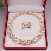 BE Pearl Gold Plated Simples Elegante Bridal Necklace Earring Jóias Set Kit Gift BP