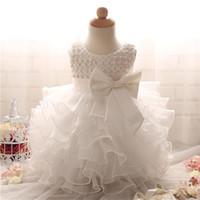 vestido de novia de tela al por mayor-Vestido de niña de moda de encaje Vestidos de niñas de flores blancas Super Bow Princess Niños Vestido de fiesta de boda Vestido de verano infantil