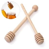 Vente en gros - HOT !!! Mini bois Honey Stick Wood Honey Spoon Stir Bar pour Honey Jar Supplies Eco-Friendly Long manette Mixing Stick Dipper 1PC
