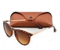 leopar tepeleri toptan satış-Adam Için en Kaliteli Yeni Moda Güneş Gözlüğü Kadın Erika Gözlük Marka Tasarımcısı Güneş Gözlükleri Matt Leopar Degrade UV400 Lensler Kutusu ve Kılıflar
