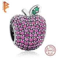 Wholesale Red Apple Charms - BELAWANG 925 Sterling Silver Pave Apple Fancy Rose Red CZ & Green Crystal Charm Fit Pandora Bracelet Bangle DIY Jewelry Making