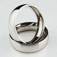 anel de ouro branco liso venda por atacado-Nova Chegada de Alta Qualidade 10 pcs Aço Inoxidável 316L Real 18 K Ouro Branco Mulheres Homens Plain Anéis De Prata para o Casamento Noivado A635