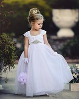 Wholesale China Girls Wear - 2017 Cheap White Girls Wedding Party Dress Strap Lace Ball Gown Flower Girl Gown Kids Formal Wear Flower Girl Gown Made In China