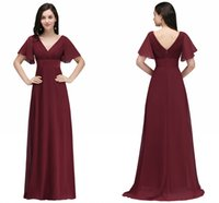 Wholesale Long Sleeve Evening Dresses Online - Wholesale Price Dark Red Long Chiffon Evening Dresses V Neck Low Back Flowy A Line Evening Party Gowns with Speaker Sleeves Cheap Online