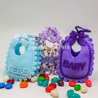 Wholesale Baby Shower Return Gifts - Wholesale-12pcs lot Adorable Baby Bibs Candy Bags Baby Shower Decoration Favor Gift Birthday Baptism Party Supply return gift for boy girl