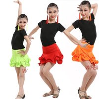 Wholesale Girls Dancewear Sets - New Girls Sequined Latin Dancewear dress Kid's Party Ballroom Salsa Dance Costumes Set Stage Wear Latin Dancewear DS Dancing Costumes