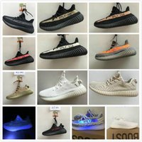 Wholesale Shoes Zebra Color - 12 color 350V2 semi Froze blue Tint cream white zebra copper bred kanye west shoes running shoes man running shoes size36-48