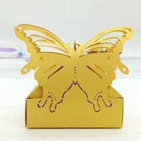 lasergravierte boxen großhandel-Hochzeitsbevorzugung Schmetterling Pralinenschachtel Mini Laser gravierte Geschenkbox Partei begünstigt kreative Box dekorative Geschenkboxen können 2 PC FERRERO ROCHER setzen