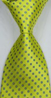 ingrosso cravatte gialle per gli uomini-Brand New Classic Solid Checks Giallo Blu JACQUARD TESSUTO da uomo in seta cravatta csw112