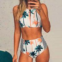 Wholesale Random Bikini - 2017 new swimsuit, European and American wind coconut tree random print, high neck groove zipper gather high waist bikini bathing suit bikin
