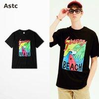 Wholesale Surfing Prints - Surfing Beach Illustration Print T Shirts Cotton Skateboard Hip Hop High Street T-shirt Sunny Beach Quality Fashion Top Tee