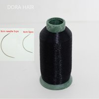 Wholesale Wholesale Track Hair - Wholesale-1Pc Black Color Polyster Cotton Weft Track Nylon Weaving Thread  Salon Hair Weaving Thread With 10Pcs C Type Needle
