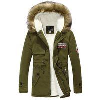 Wholesale Casual Faux Fur Hooded Pad - Wholesale- 2016 New Fashion Mens Padded Coat Winter Fleece Hooded Jacket Parka With Faux Fur Hood Men Warm Coats Chaqueta Hombre 13M0218