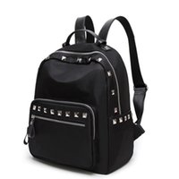 Barato Grande Bolsa De Ombro Vertical-Large Shoulder Bag Feminino Black Wild Fashion Rivets Zipper Seção Vertical Do Colégio Vento Bolsa Feminina