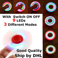 Wholesale Wholesale C7 Light Bulbs - Top quality LED Fidget Spinner LED Fidget Tri Spinners Toys 3 Modes Luminous Light Hand Spinner with Switch ON OFF by DHL