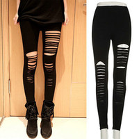 Wholesale Slashed Stretch Pants - Wholesale- Sexy Women Goth Punk Slashed Ripped Cut Out Slit Stretch Pants Leggings Black Hold Women Pencil Leggings
