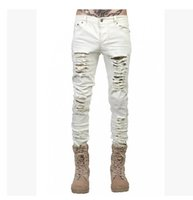 Wholesale famous pencils - men's jeans ripped jeans for men skinny Distressed slim famous brand designer biker hip hop swag black slim pants