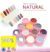 Wholesale Uv Nails Cover Gel - Wholesale-12 Colors LED UV Gel Builder Cover Pure Soak Off Nail Art Tips Kit Natural Series 113-124 CANNI