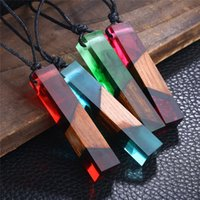 Wholesale crystal chain for jewelry making - 4 Colors Wood Resin Crystal Ocean Sights Cube Pendant Necklace Hand Made Wooden Jewelry for Women Kids Christmas Gift 162504