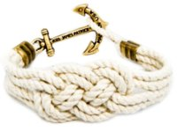 Wholesale Cotton Braid Bracelet - Original Logo Fashion Wristband Bronze Braided Anchor Bracelet Bangle Women Men Cotton Rope Hook Bracelet Wholesale 2016